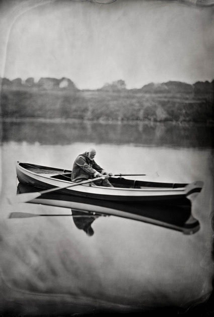 """Lou Hafermehl and his hand-made boat """"Eyes of Lila"""""""